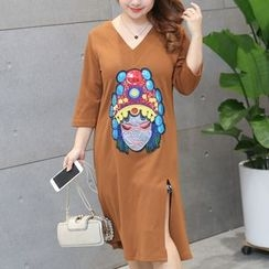 Hennson - 3/4-Sleeve Embroidered Slit T-Shirt Dress