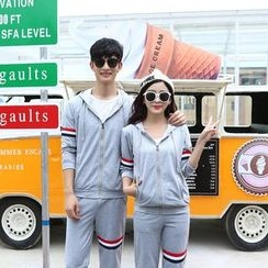 belle epoque - Couple Matching Set: Striped Hooded Zip Jacket + Jogger Pants