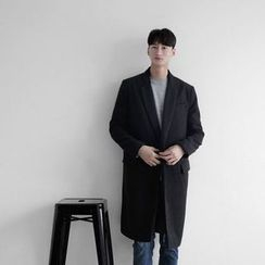 Seoul Homme - Notched-Lapel Hidden-Button Coat