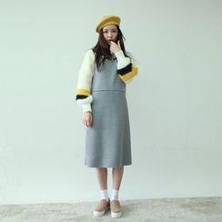 Vintage Vender - Wool Blend Mini Pinafore Dress