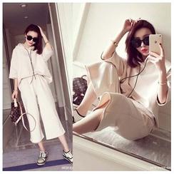气质淑女 - 套装: 纯色连帽衫 + 宽脚裤