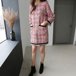 Hello sweety - Fringe-Trim Patterned Shift Dress
