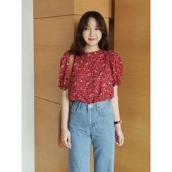maybe-baby - Puff-Sleeve Floral Print Top