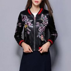 Merald - Embroidered Faux Leather Bomber Jacket