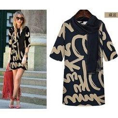 Saranghae - Elbow-Sleeve Printed T-Shirt Dress