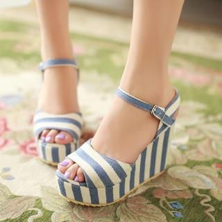 Pangmama - Striped Wedge Sandals