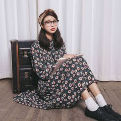 SUYISODA - Long-Sleeve Floral Chiffon Midi Dress