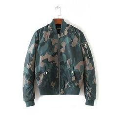 Chicsense - Camouflage-Print Zip Jacket