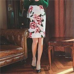 ode' - Floral Print Pencil Skirt