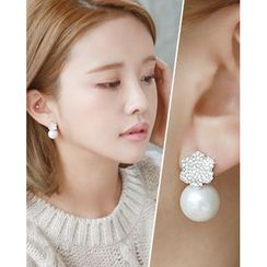 Miss21 Korea - Rhinestone-Flower Faux-Pearl Earrings
