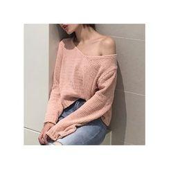 MATO - Plain V-Neck Sweater