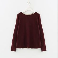 Meimei - Lettuce Trim Long Sleeve Top