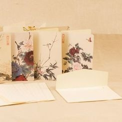 Porcelina - Set: Floral Print Greeting Card + Envelope
