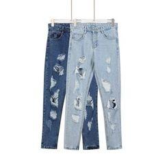 Momewear - Distressed Slim-Fit Jeans