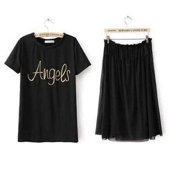 JVL - Set: Short-Sleeve Lettering T-Shirt + Mesh Midi Skirt