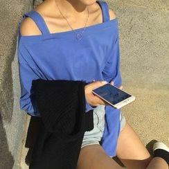 Cattie - Cold Shoulder Long-Sleeve T-Shirt