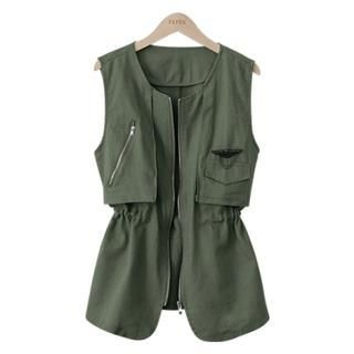 PEPER - Linen Drawstring-Waist Zip-Up Vest