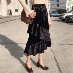 Bloombloom - Velvet Tiered Midi Skirt
