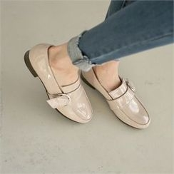 Styleberry - Buckled Patent Loafers