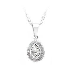 BELEC - 925 Sterling Silver Water-drop-shape Pendant with White Cubic Zircon and Necklace