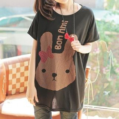 JVL - Rabbit Print Loose-Fit Top