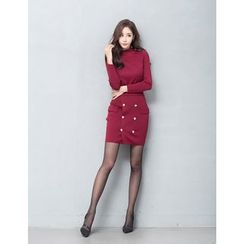 GUMZZI - Set: Long Sleeve Knit Top + Buttoned Skirt