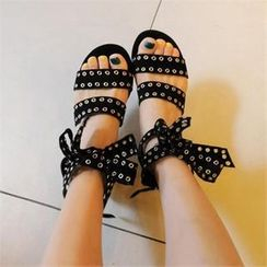 LIPHOP - Faux-Suede Studded Bow-Accent Sandals