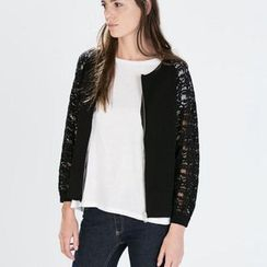 Chicsense - Lace-Sleeve Zip Jacket