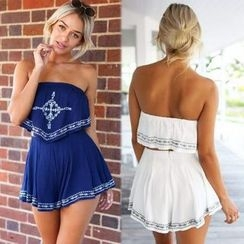 Hanni - Embroidered Strapless Playsuit