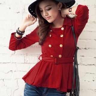 CUTIE FASHION - Double-Breasted Jacket with Belt