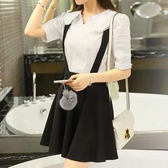 AGA - Set: Short-Sleeve Blouse + Jumper Skirt