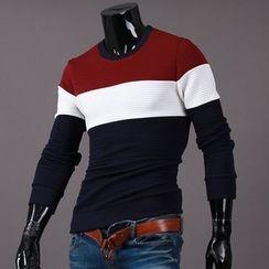 Seoul Homme - Color-Block Round-Neck T-Shirt