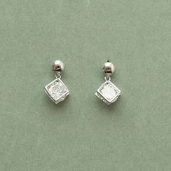 Love Generation - Rhinestone Sterling Silver Earrings