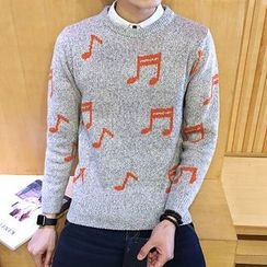 Alvicio - Music Note Print Sweater