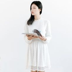 Forest Girl - Plain Long Sleeve Lace Dress