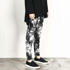 Remember Click - Elastic-Waist Patterned Harem Pants