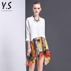 Y:Q - V-Neck Printed Mock Two-Piece Dress
