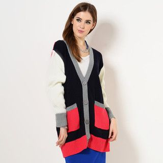 59 Seconds - V-Neck Color-Block Cardigan