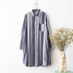 Rosadame - Stripe Long-Sleeve Shirtdress