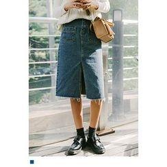 10WORLD - Front-Slit Denim Midi Skirt