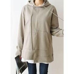 J-ANN - Hooded Asymmetric-Hem Pullover