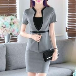 illusione - Set: Short-Sleeve Jacket + Pencil Skirt