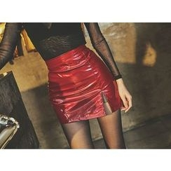 UUZONE - Faux-Leather Miniskirt