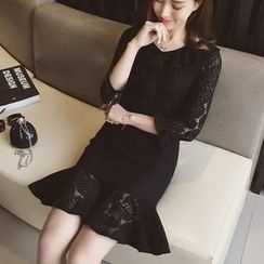 Cocofield - Ruffle 3/4-Sleeve Lace Dress