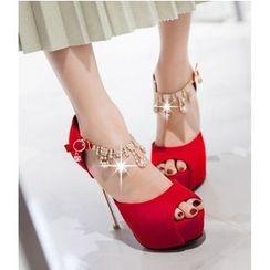Freesia - Embellished Ankle Strap Peep Toe Platform Stilettos