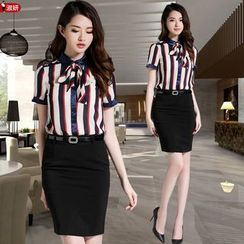 Aision - Short-Sleeve Striped Blouse