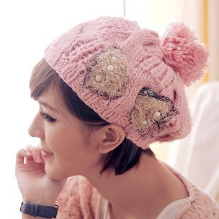 Cuteberry - Pompom-Accent Beaded Knit Beret