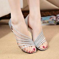 Weiya - Strappy Low Wedge Sandals
