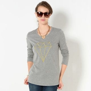 YesStyle Z - Diamond Embroidered Long-Sleeved T-Shirt