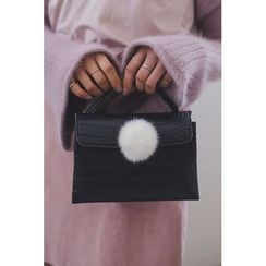 migunstyle - Croc-Grain Faux-Fur Shoulder Bag